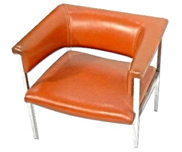 1970 Mid Century Modern Chrome Vinyl Cube Lounge/Club Chair