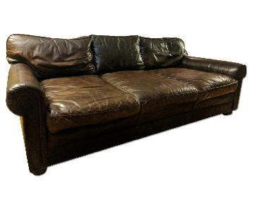 Restoration Hardware Leather Down-Feather Sofa