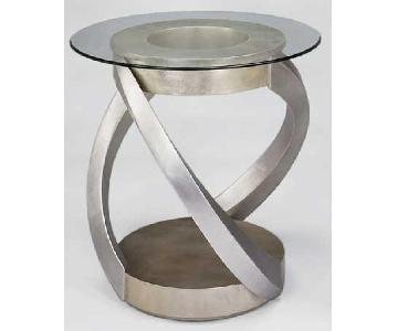 Modern End Table w/ Glass Top