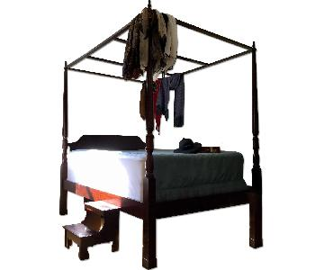 Rosewood Oak Queen Canopy Bed + Step Stool