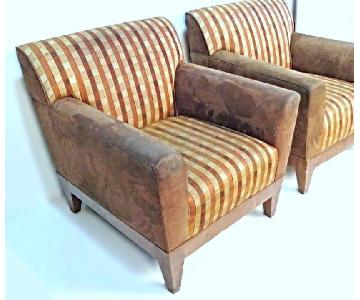 Modern Suede Upholstered Lounge Club Chairs
