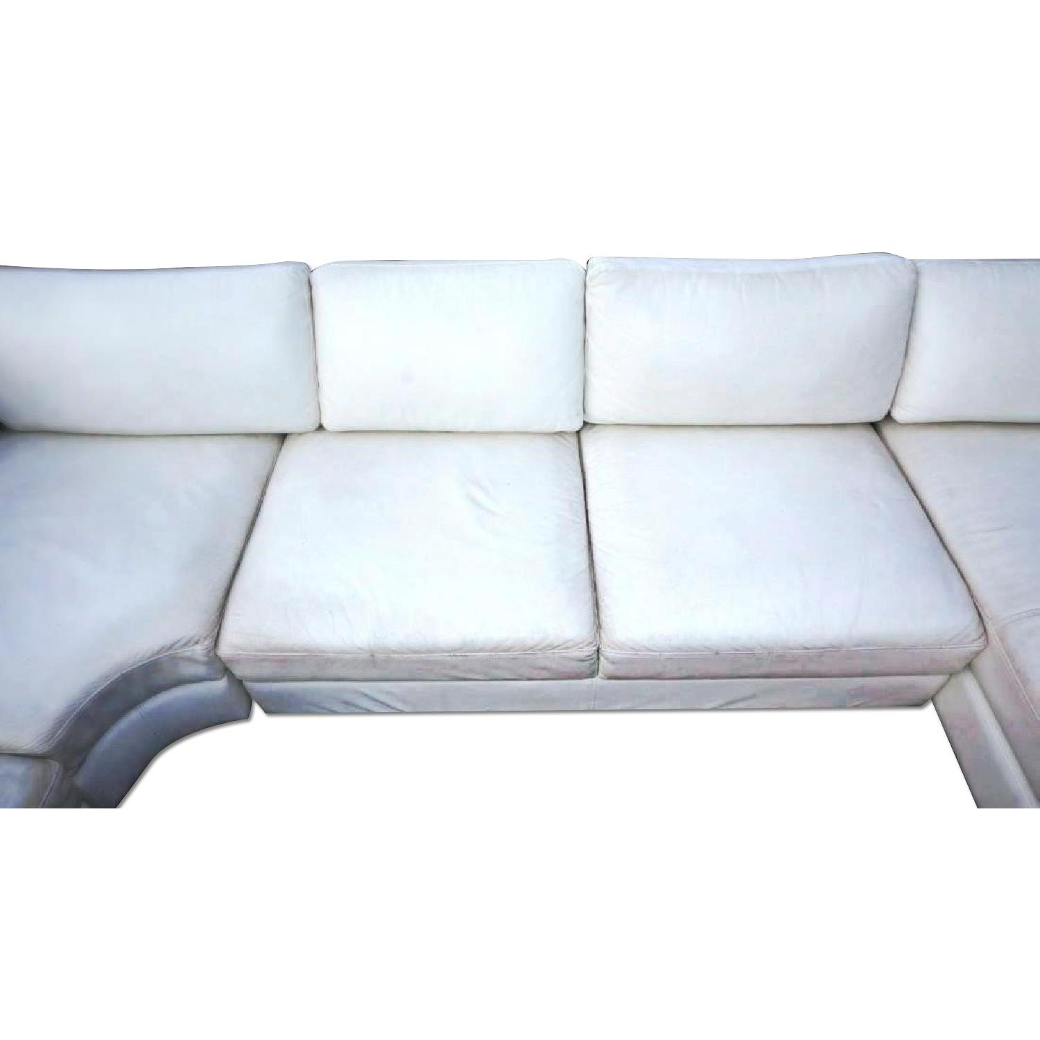 Mid Century Modern White Leather Sectional Sofa