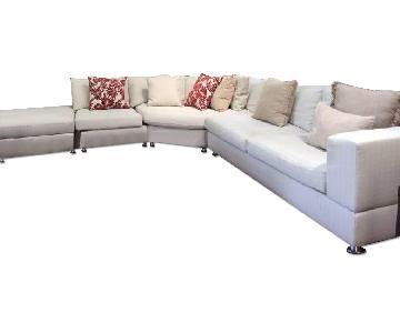 Italian Off White Sectional Sofa & Ottoman