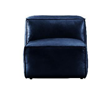 Navy Leather Armless Chair