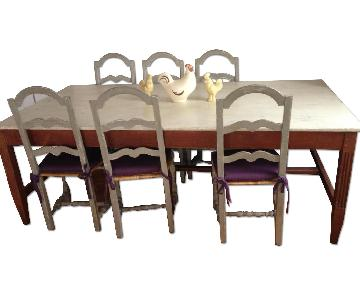Antique French Farmhouse Table w/ 8 Chairs
