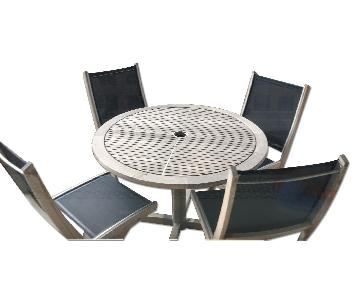 Gloster Patio Table w/ 4 Solana Folding Chairs