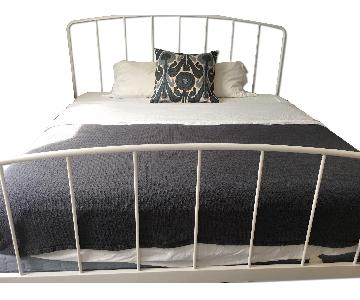 Crate & Barrel Rory White King Bed Frame