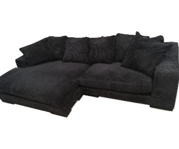 Brown Microfiber Sectional w/ Chaise Lounge