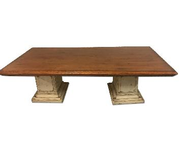 Rustic Wood Dining Table on Pedastals