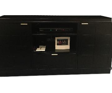 Crate & Barrel Solid Wood Media Unit in Black