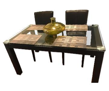 Macy's Modern Glass Dining Table w/ 4 Chairs