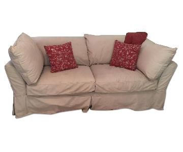 Restoration Hardware Silpcovered Sleeper Sofa + Chair & Ottoman