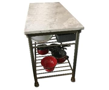 Marble Top Butcher Block Table