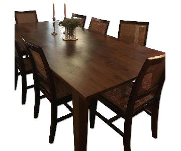 Crate & Barrel Basque Honey Dining Table w/ 10 Chairs