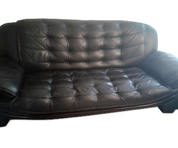 Vinyl Products Manufacturing Black Leather Sofas + Armchair