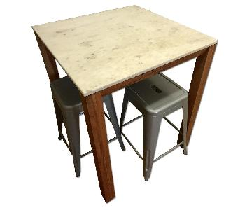 CB2 Palate Marble High Counter Table w/ 2 Stools