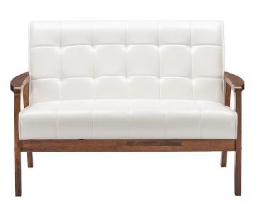Braxton Studio Mid-Century Loveseat in White Faux Leather