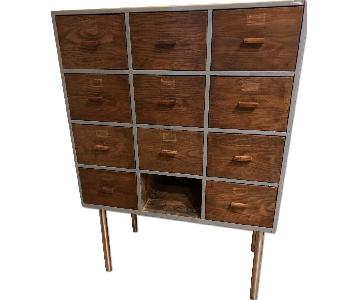 Vintage Library Card/Chest of Drawers/Wooden Cabinet