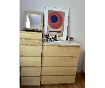Ikea Malm 6 Drawer w/ Mirror + Malm 4 Drawer Dresser w/ White Glass Top