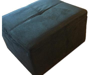 Black Coffee Table /Storage Ottoman + 2 Side Tables w/ Storage