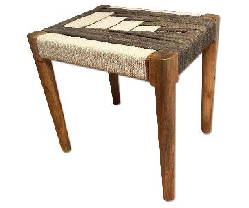 Woven Tapestry & Wood Mix End Table