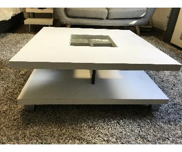 Furniture of America White Square Coffee Table w/ Glass Inset