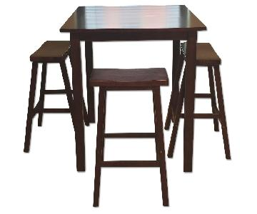 Winsome Wood Solid Pine Pub Table w/ 3 Saddle Seat Stools