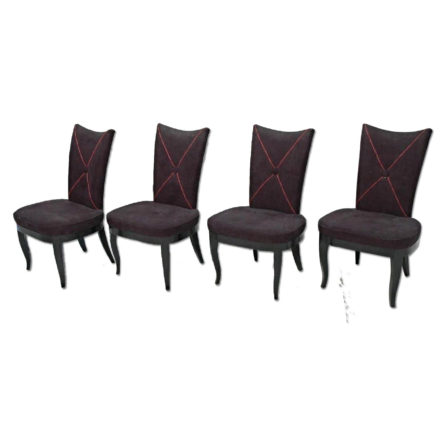 Oversized Black Ultra Suede Dining Side Chairs