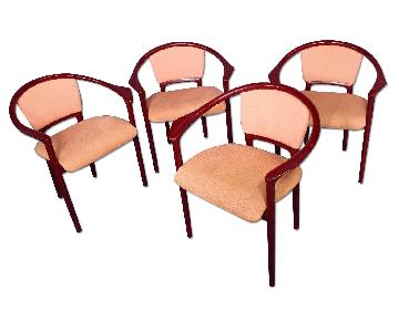Italian Mid Century Modern Red Lacquer Dining Side Chairs