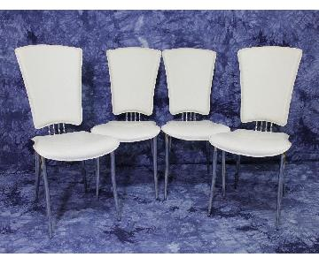 Mid Century Modern White Leather Dining Side Chairs