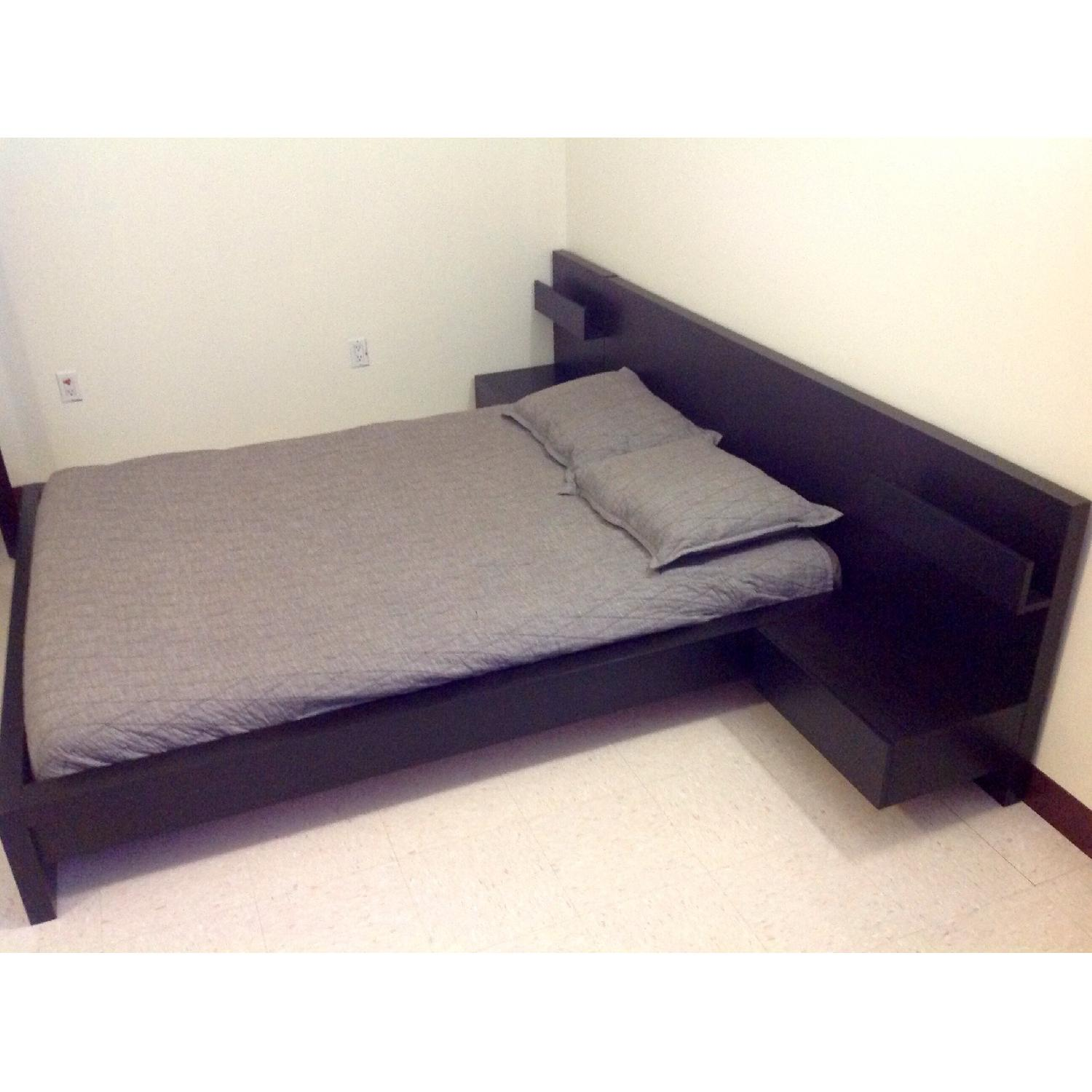 Used ikea malm queen size bed two for sale in nyc aptdeco - Malm bed with nightstands ...
