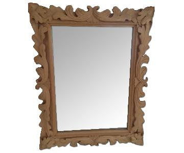 Hand Carved Baroque Style Raw Wood Mirror