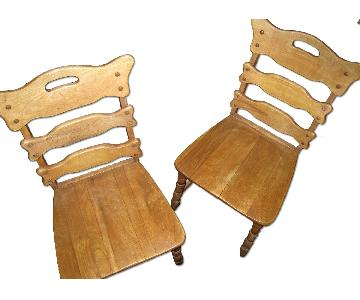 Dutch Antique Wood Chairs - Pair