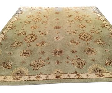 Floral Wool Aqua Green Area Rug