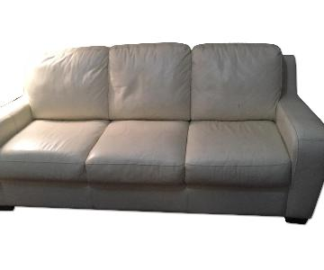 White Leather Sleeper Sofa
