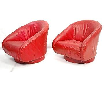 Mid Century Modern Red Leather Lounge Barrel Back Chairs