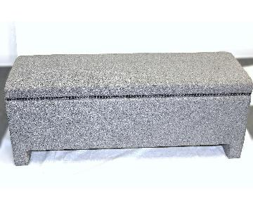 Vintage Mid Century Modern Grey Upholstered Storage Bench