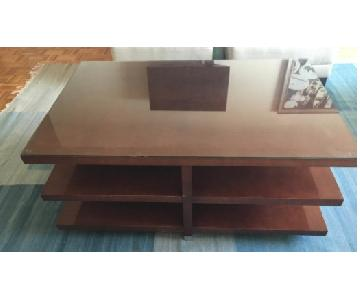 Baker Furniture 3-Tier Coffee Table w/ Custom Glass Top