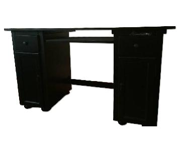 Ballard Designs Black Corner Computer Desk w/ Keyboard Tray