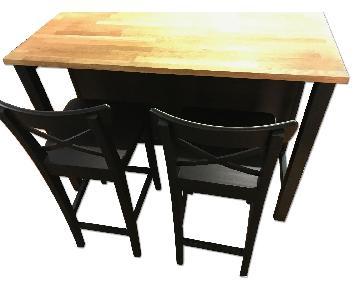 Ikea Dark Brown Oak Kitchen Island w/ 2 Matching Bar Stools