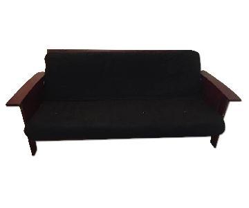 Cherry-Wood Futon w/ Black Cushion