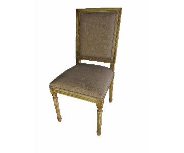 Restoration-Style French Square Fabric Side Chairs w/ Brown Upholstery