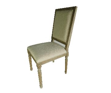 Restoration-Style French Square Fabric Side Chairs w/ Beige Upholstery