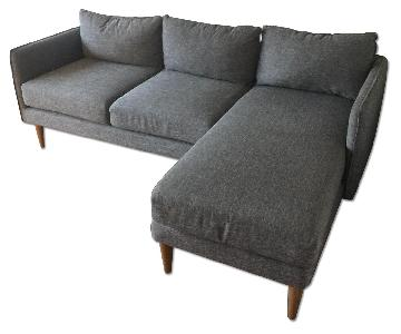 West Elm 2 Piece Sectional Sofa w/ Chaise Lounge