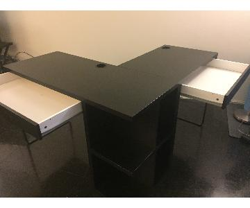 Ikea Black Computer Desk w/ Black Leather Chair