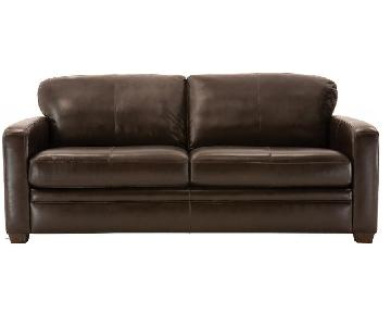 Raymour & Flanigan Trent Leather Queen Sleeper Sofa