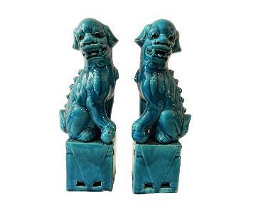 PorcelainTurquoise Foo Dogs
