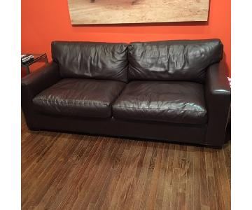 Crate & Barrel Brown Leather Couch