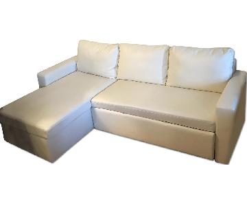 Leather Sectional Sleeper Sofa w/ Storage