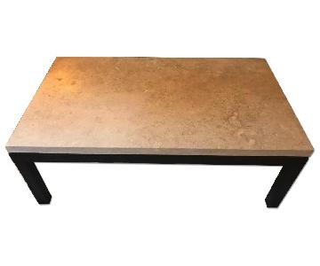 Crate & Barrel Parsons Travertine Top/Dark Steel Base Small Rectangular Coffee Table